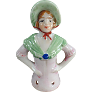 Vintage Half Doll - Old Porcelain Pincushion Doll - Young Lady with Bonnet