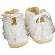 Vintage Baby Shoes - Yellow and White with Ruffles - Old Baby Doll Size Booties