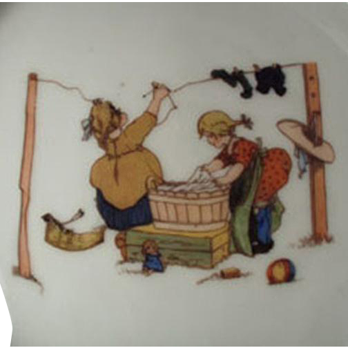 Vintage Baby Plate - Bavarian Feeding Dish with Children Doing Laundry