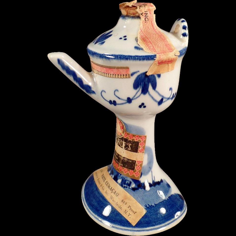 Vintage Delft Miniature - Liqueur Bottle - Pedestal Basin in Delft Blues