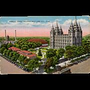 Vintage Postcard - Mormon Temple in Salt Lake City - Old Postcard