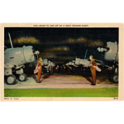 Vintage Postcard - WWII Airplanes - Night Training Flight