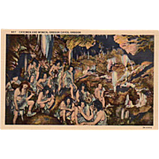 Vintage Postcard - Oregon Caves with Cavemen and Women - Old Souvenir Postcard