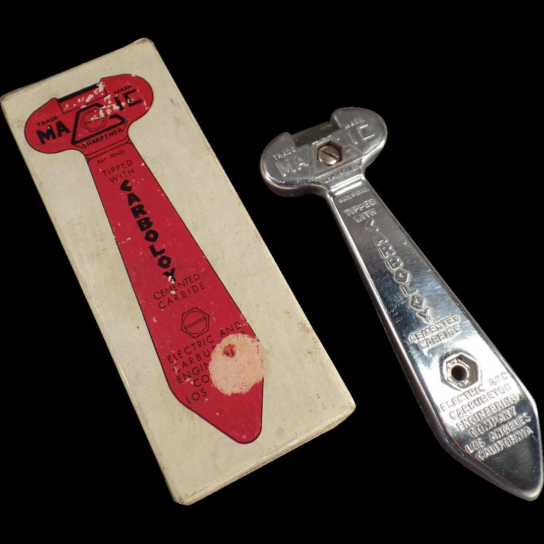 Vintage Carboloy Magic Knife Sharpener with Original Old Box
