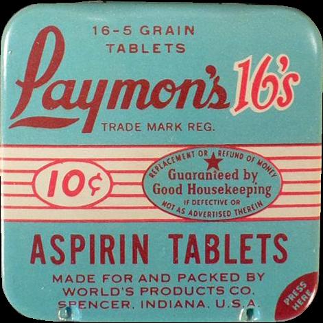 Vintage Medicine Tin -  Old Laymon's 16's Aspirin Tin