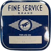 Vintage Typewriter Ribbon Tin -  Old Fine Service Brand with an Airplane