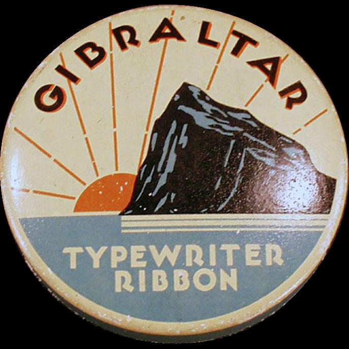 Vintage Gibraltar Typewriter Ribbon Tin - Old Ribbon Tin with the Rock of Gibraltar