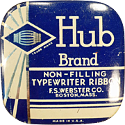 Vintage Typewriter Ribbon Tin -  Hub Brand by F.S. Webster - Small Size
