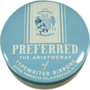 Vintage Typewriter Ribbon Tin -  Old Preferred Brand Tin in Baby Blue