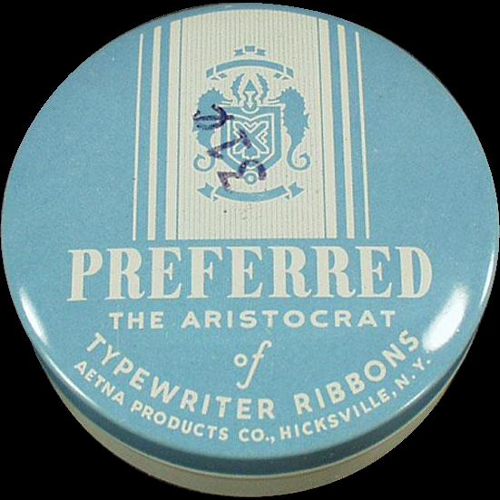 Vintage Typewriter Ribbon Tin -  Old Preferred Brand Tin in Baby Blue
