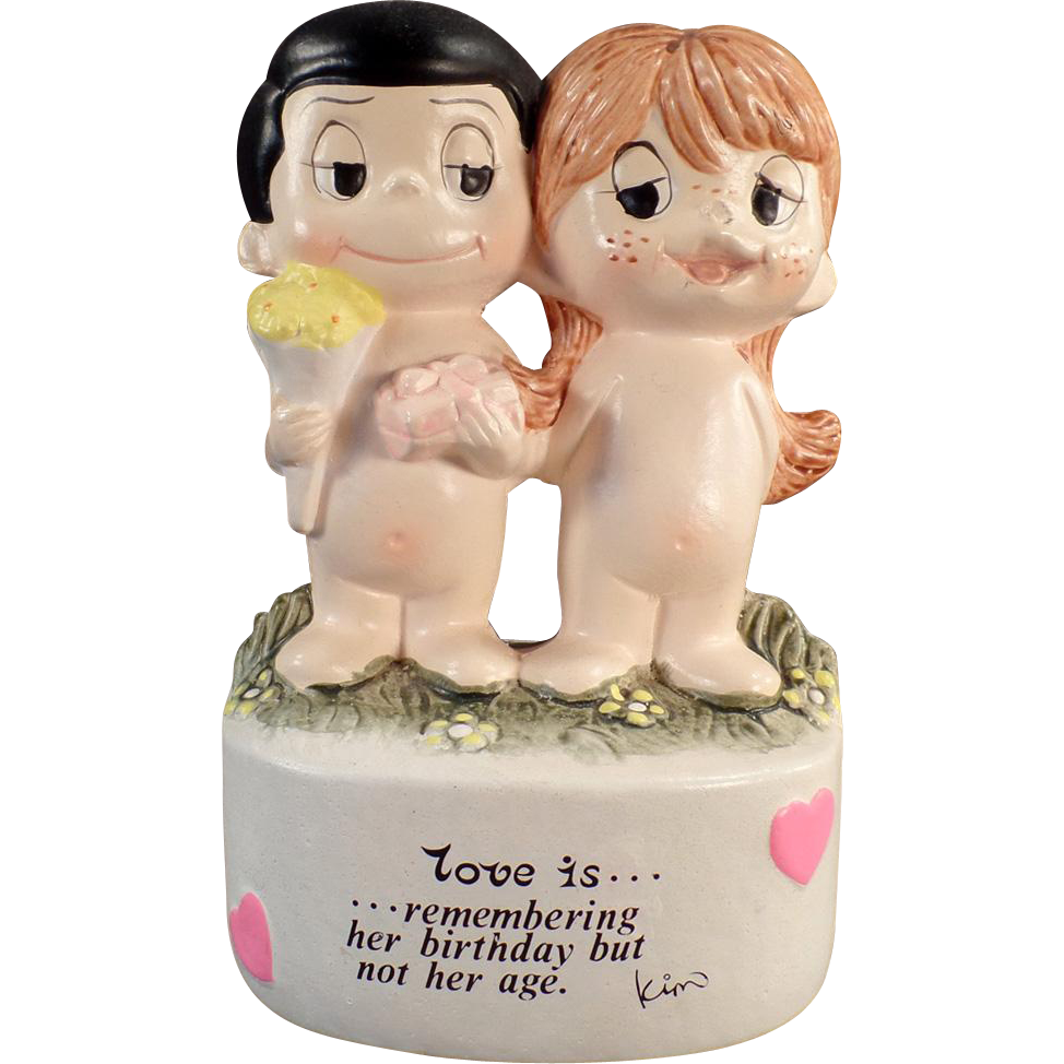 Vintage Penny Bank - Old Kim Casali Bank - Love is, remembering her birthday