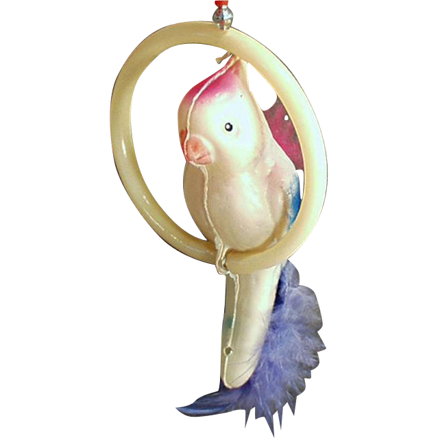 Vintage Celluloid Toy - Bird on a Perch - Old Suction Toy