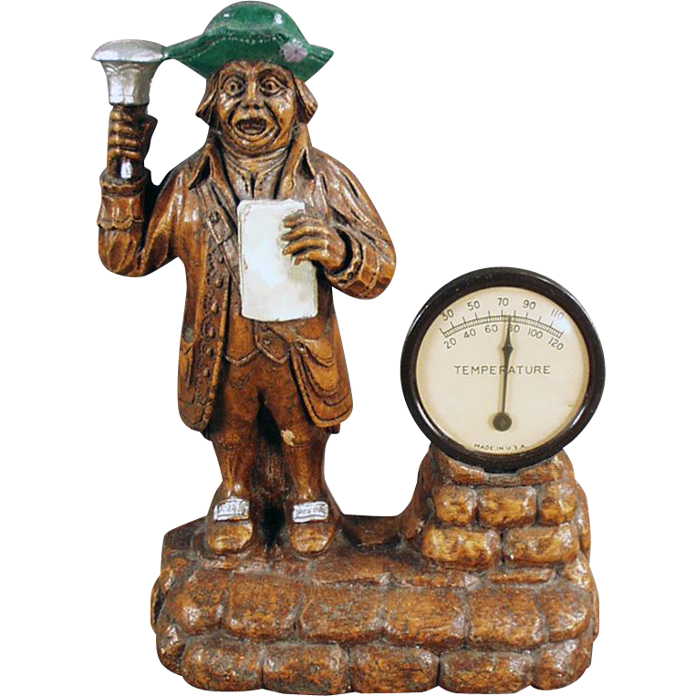 Vintage Desk Thermometer - Old Syroco Town Crier Figure