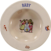 Vintage Baby Plate – Ceramic Bowl with Children and Toys - Czechoslovakia