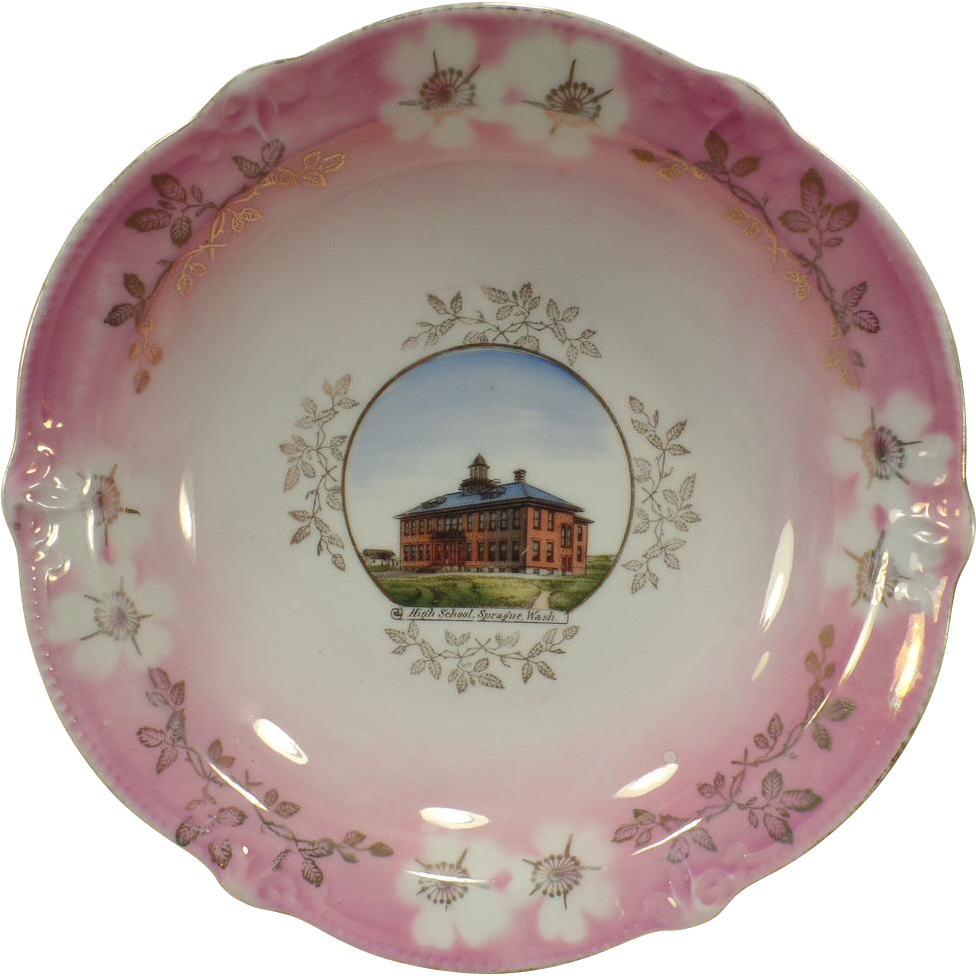 Vintage Souvenir Plate Bowl – Historical Sprague, Washington - High School Building