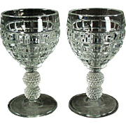 Vintage Heisey Glassware - Victorian Pattern - Pair of Old Cordial or Small Wine Glasses