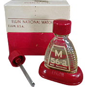 Vintage Watch Oil Bottle - Old Elgin M-56a Bottle with Original Packaging