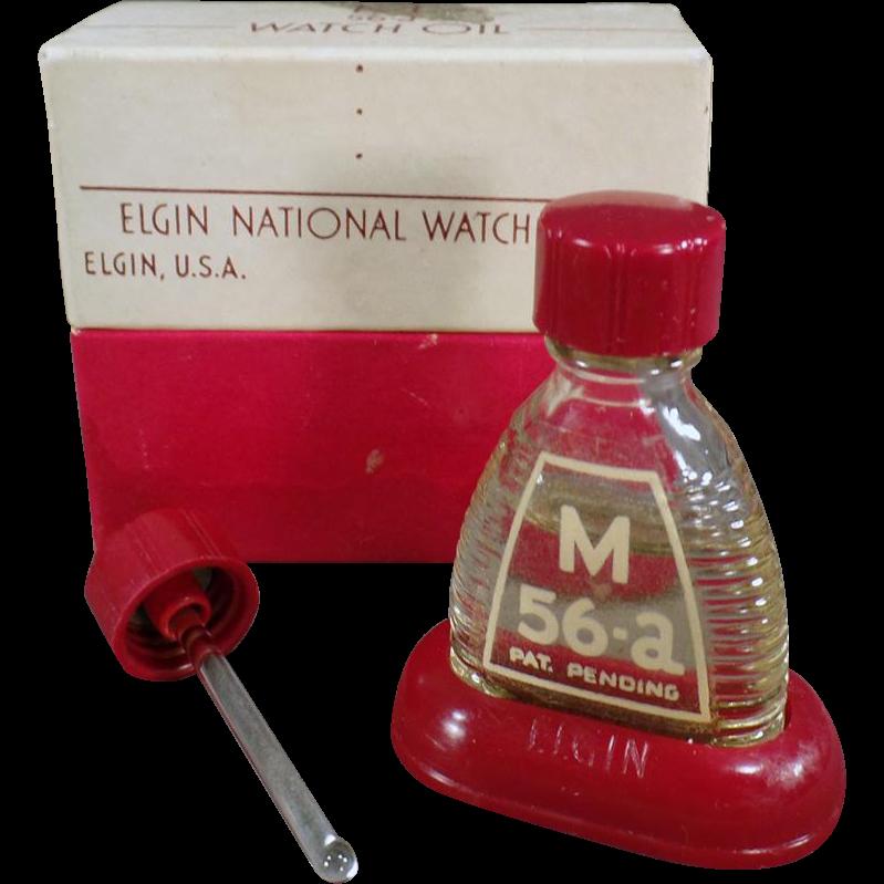 Vintage Watch Oil Bottle - Old Elgin M-56a Bottle with Original Packaging