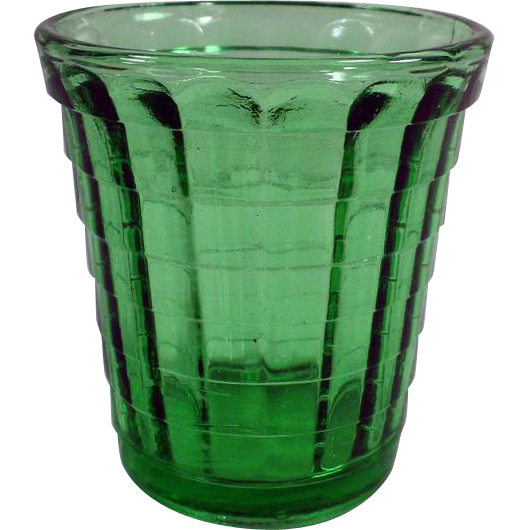Vintage Green Akro Agate Glass - Small One Ounce Size - Child's or Old Shot Glass
