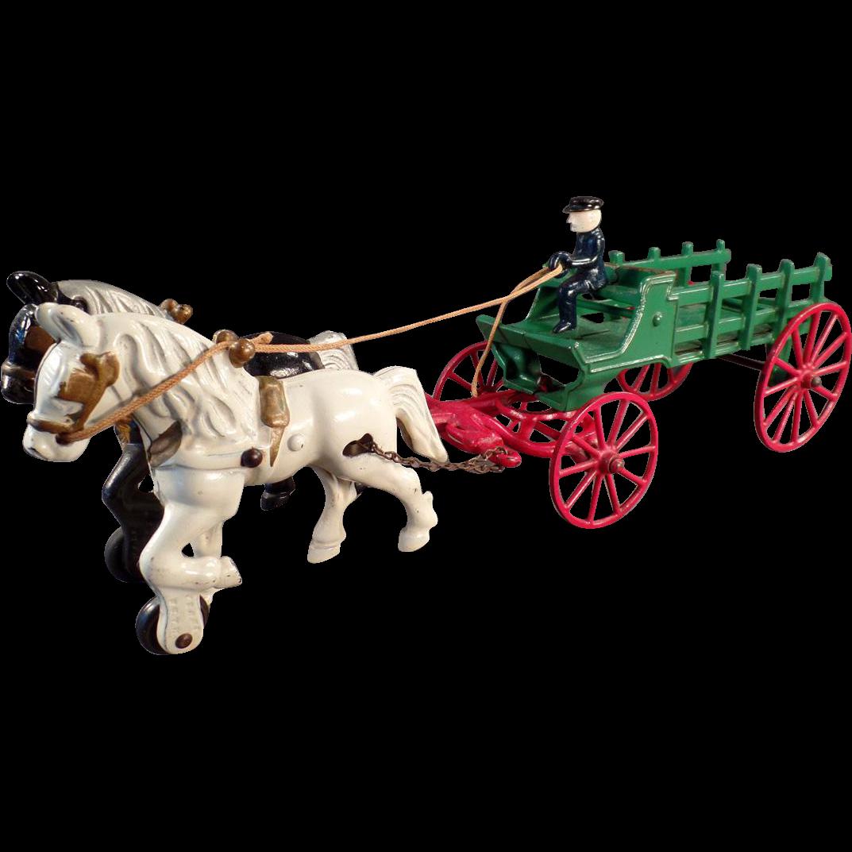 Vintage Cast Iron Toy - Kenton Horse Drawn Stake Wagon - Original Paint
