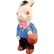 Vintage Easter Bunny Figure - Composition White Rabbit