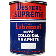 Vintage Grease Tin -  Western Auto Supreme Lubricant Automotive Tin