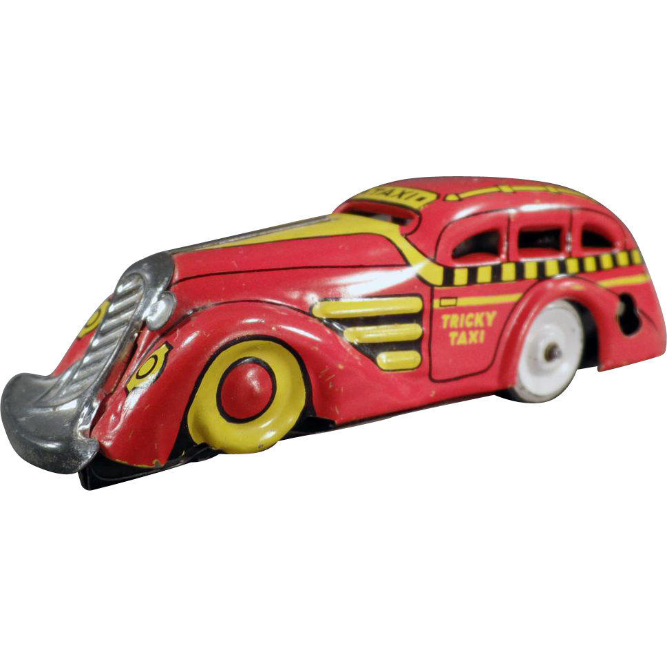 Vintage Marx Tin Toy - Tricky Taxi Wind Up Car - Nice Color Combination