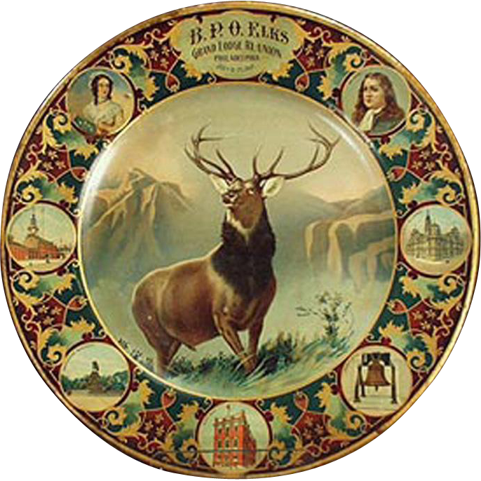 Vintage Elks Grand Lodge Plate - Lithographed Tin Plate - 1907