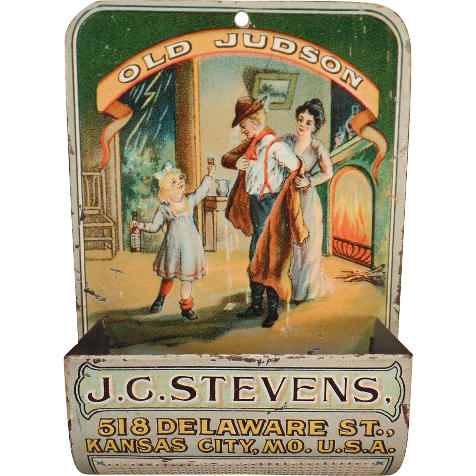 Vintage Advertising Matchsafe - Old Judson Wall Match Safe for Wood Matches – J.C. Stevens