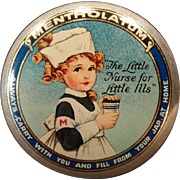 Vintage Mentholatum Ointment Tin - Old Medicine Tin - Colorful Little Girl Nurse