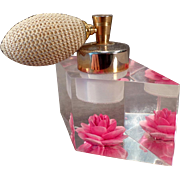 Vintage Evans Perfume Atomizer – Old Lucite Perfume with Brilliant Pink Flower