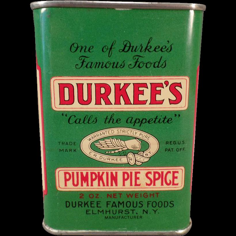 Vintage Spice Tin - Old Durkee's Pumpkin Pie Spice Tin