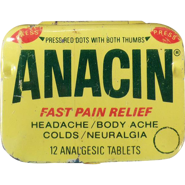 Vintage Anacin Aspirin Tin – Old Medicine Tin – 1960's