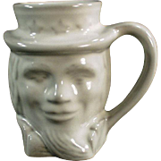 Vintage Frankoma Pottery Coffee Cup - Old Uncle Sam Toby Mug - White Glaze
