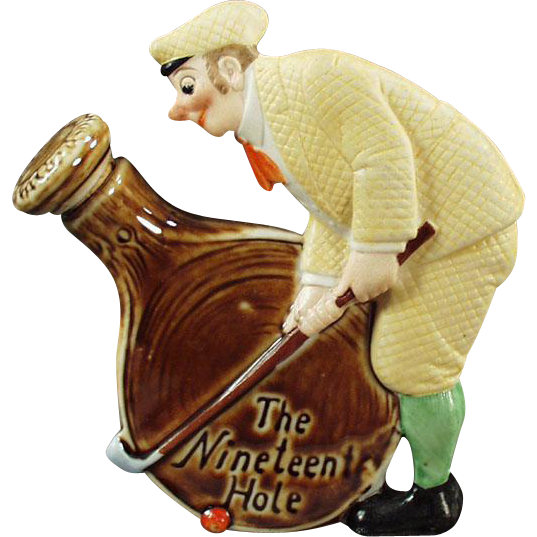 Vintage Schafer and Vater Flask - 19th Hole with Dapper Golfer - Old Porcelain Nip