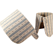 Vintage Starched Men's Shirt Cuffs - Patterned Fabric Detachable Shirt Cuffs
