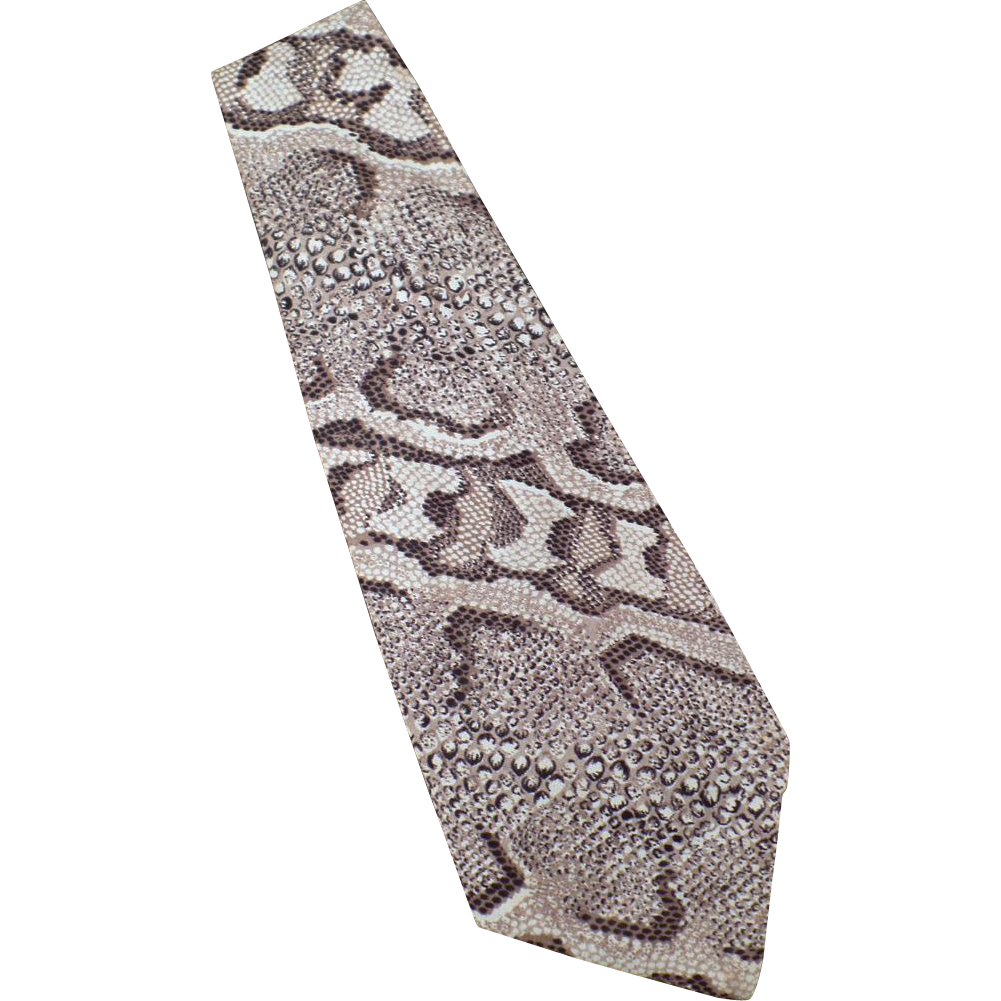 Vintage Men's Necktie – Wide Old Neck Tie with Faux Reptile Skin Polyester Print