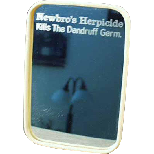 Vintage Celluloid Framed Mirror - Old Newbro's Herbicide Dandruff Advertising