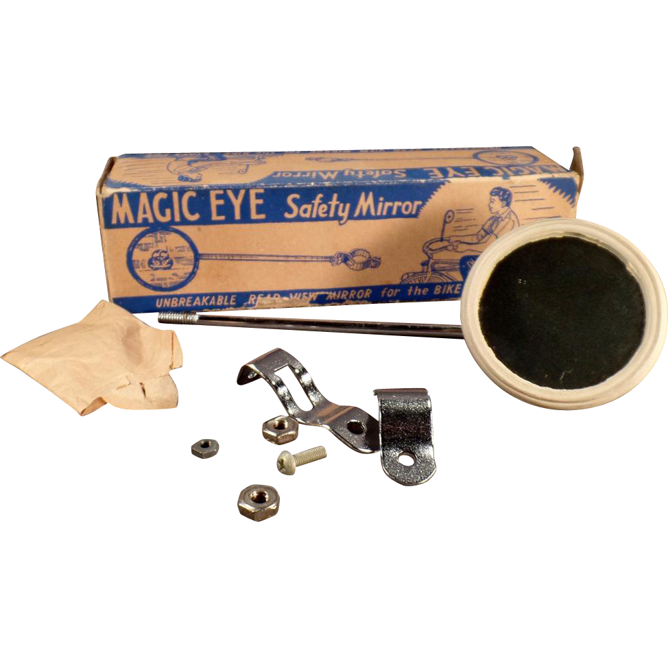Vintage Bicycle Accessory - Old Magic Eye Mirror with Original Box