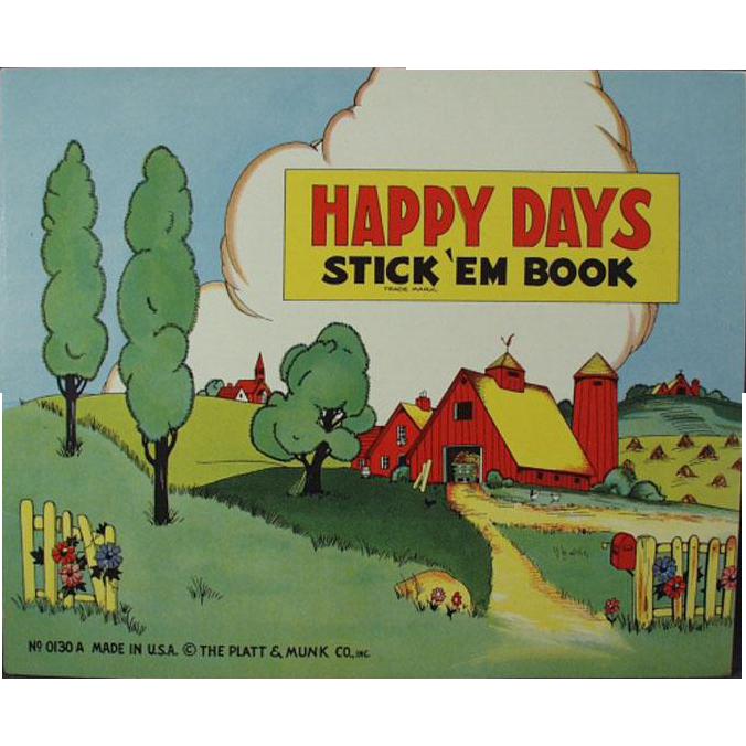 Child's Vintage Book of Stickers - Happy Days - Old Platt & Munk Book