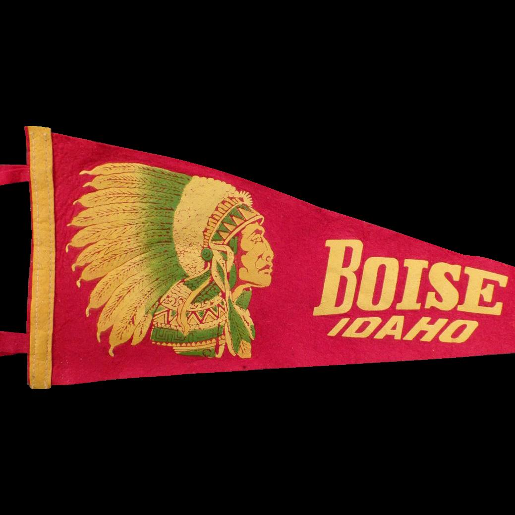 Vintage Felt Souvenir Pennant – Old Boise Idaho Pennant with Indian Chief