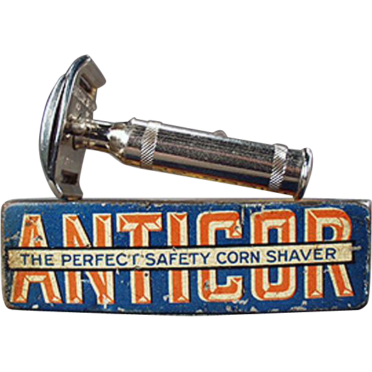 Vintage Razor Tin - Old Anticor Corn Razor with Original Tin - German