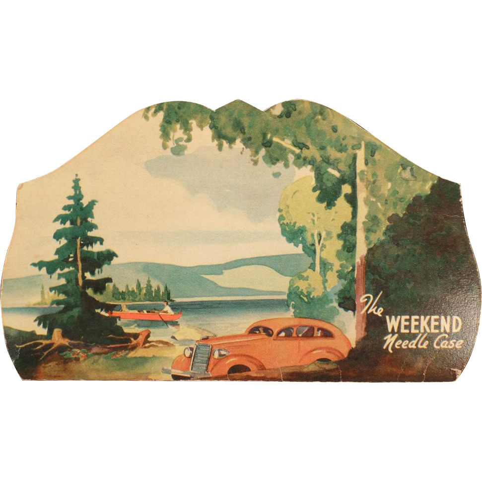 Vintage Sewing Needle Packet – The Weekend Needle Case with a Seaside Scene and Old Car