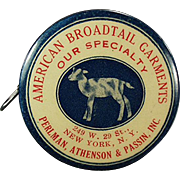Vintage Tape Measure - Old Celluloid Tape with a Lamb -  American Broadtail Advertising