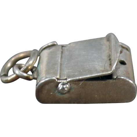 Vintage Silver Charm – Little Box with Hinged, Opening Lid – Old Sterling Charm