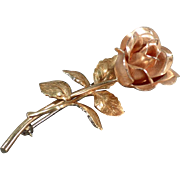 Vintage Krementz Rose Pin - Old Estate Jewelry - Beautifully Detailed Flower