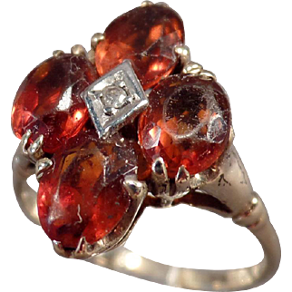 Ladies Vintage Citrine Cluster Ring with Small Diamond - Old Estate Jewelry