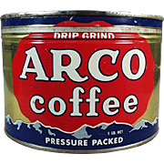 Vintage Coffee Can - Old Arco Advertising Tin - One Pound Key Wind Tin