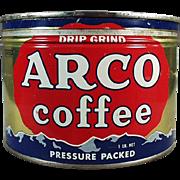 Vintage Coffee Can - Old Arco Advertising Tin - One Pound Key Wind Tin