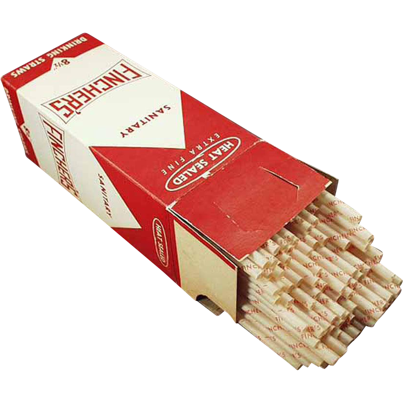 Vintage Advertising Paper Straws - Old Fincher's Giant Paper Straws in Original Box